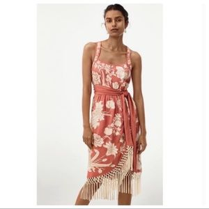 Anthropologie Lucille Embroidered Fringe WrapDress